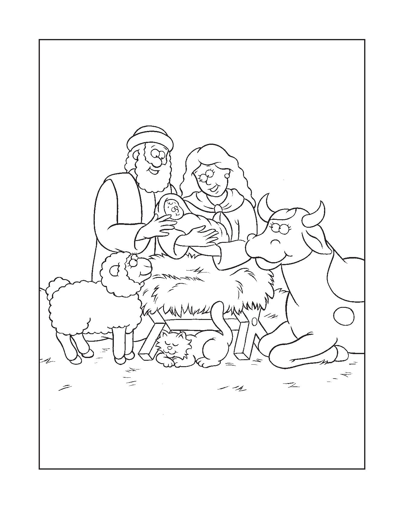 - The Beginner's Bible Nativity Coloring Page (click 'Additional