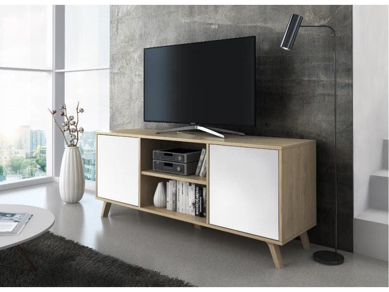 Meuble Tv 140 Avec 2 Portes Salon Modele Wind Structure Couleur Puccini Portes Couleur Blanche Mesure 140x40x57c Meuble Tv Meuble Tv Moderne Meuble Tv Led