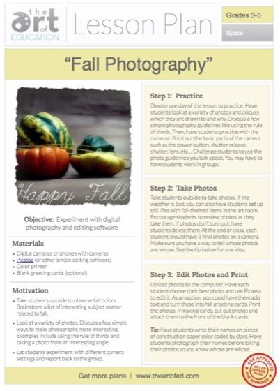 Fall Photography Free Lesson Plan Download Art Pinterest