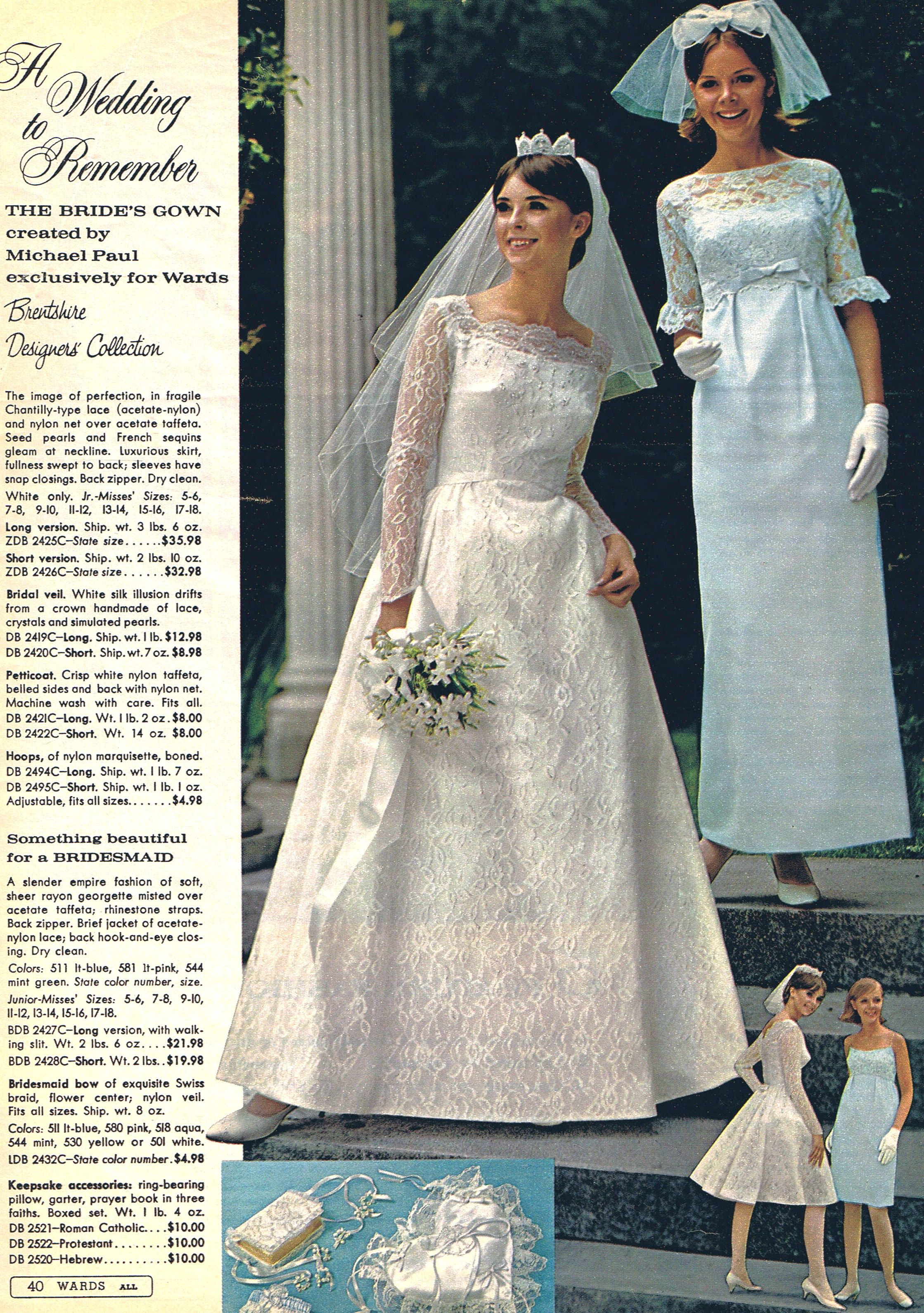 Wedding by Montgomery Ward! Michael Paul designed gowns, 1966 | Mid ...