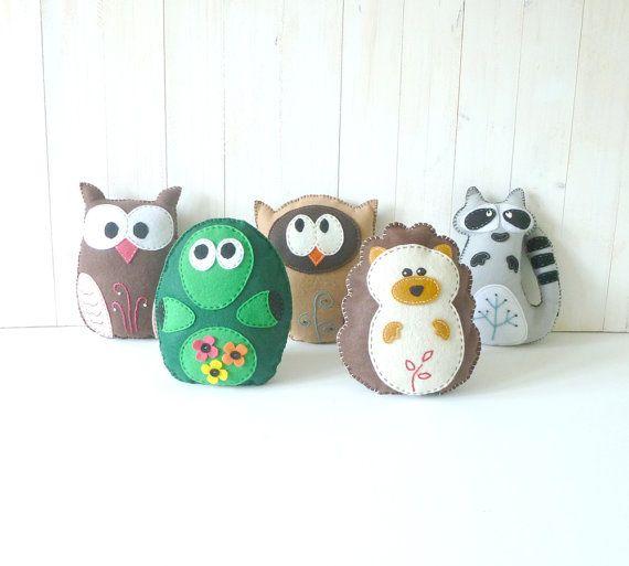 5 Woodland Forest Plushie Sewing PATTERNS // DIY Owls Hedgehog ...