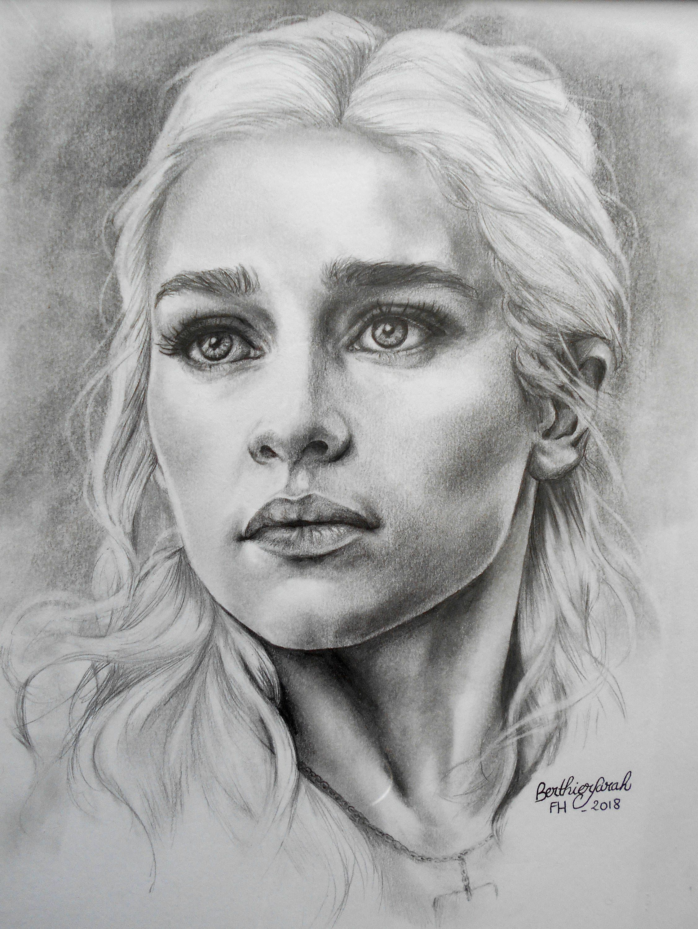 dessin daenerys targaryen game of thrones m re des dragons noir et blanc vendu avec. Black Bedroom Furniture Sets. Home Design Ideas