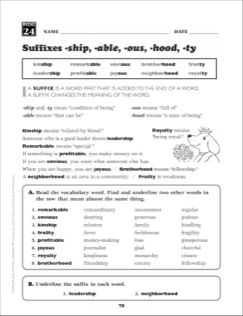 Suffixes (-ship, -able, -ous, -hood, -ty): Grade 4 ...