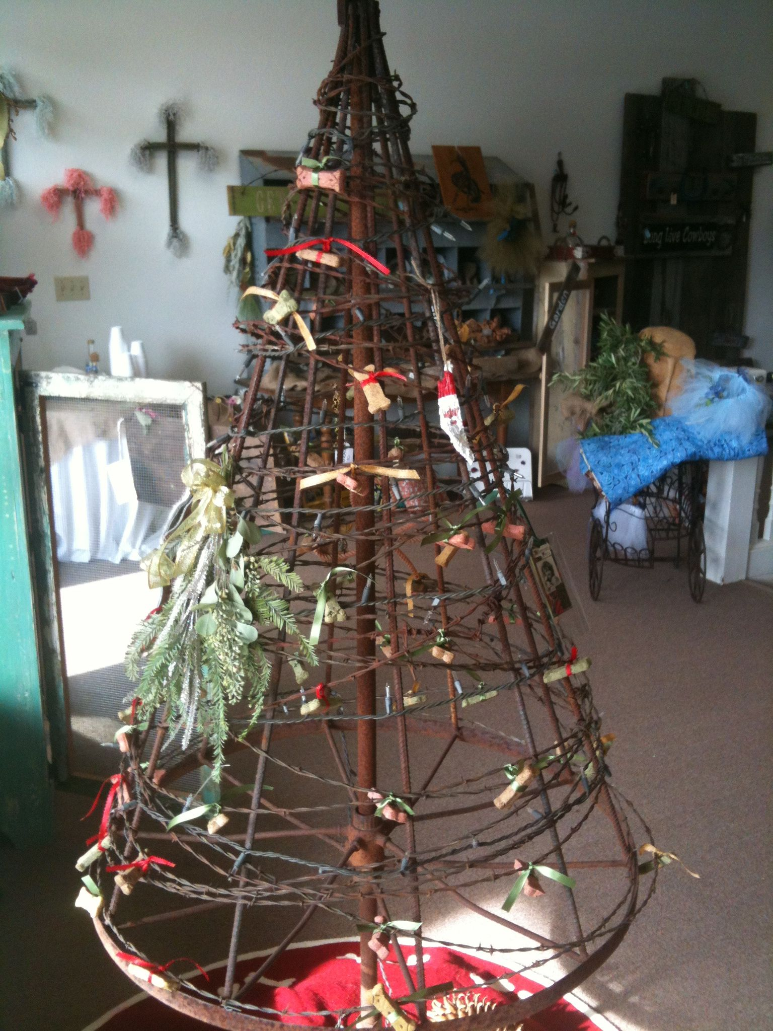 Instead Of Rebar Use Old Barbed Wire Fence Stays That Are All Twisty Christmas Tree Fence Western Christmas Tree Christmas Tree