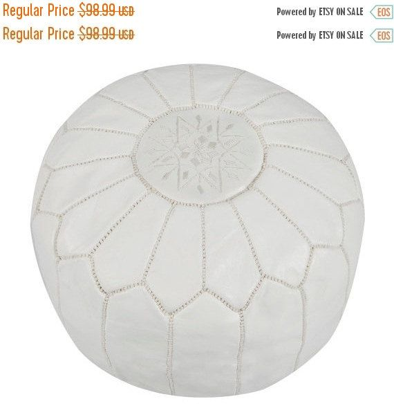 20% AUTUMN SALE Summer Gift Ideas, Holiday gifts, gifts for her, White Moroccan Leather Pouf, Pouffe- home & living, home decor, home gifts