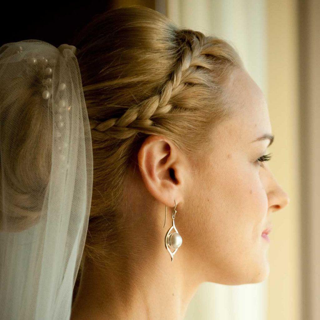 bridal hairstyle updo braid with tiara