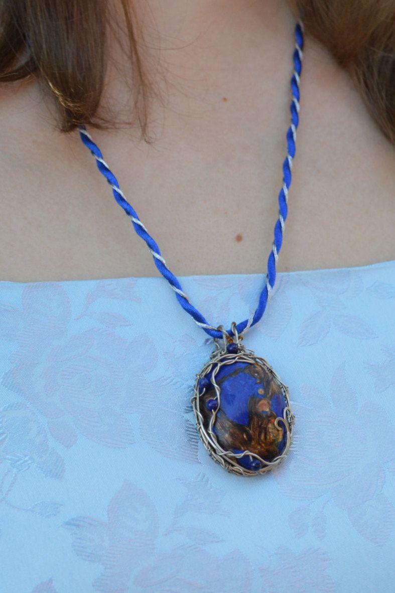 Blue stone necklace - Mica pendant - Blue mica - Navy blue necklace ...