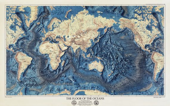 Ocean Floor Map World Map Oceans Map Atlantic Ocean Map Etsy Old World Maps World Map Oceans Of The World