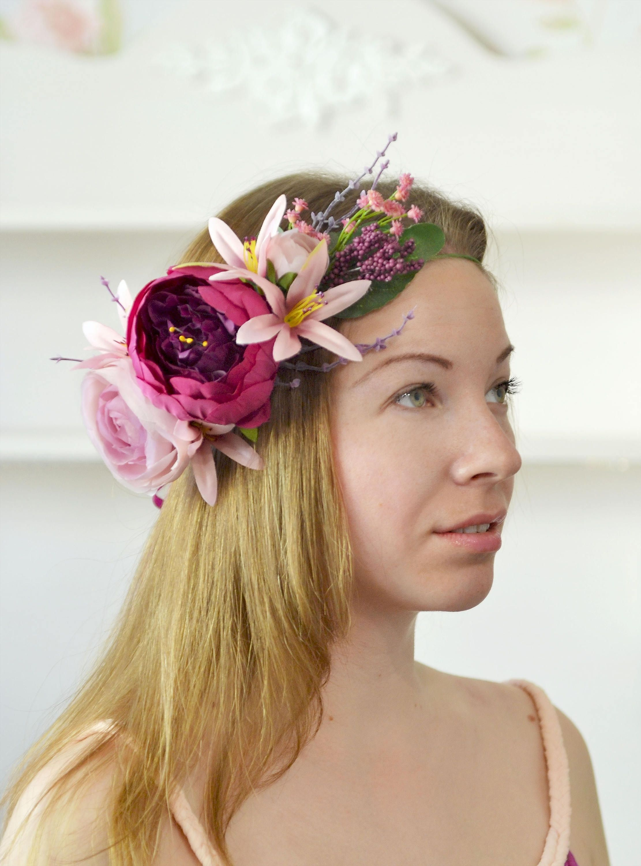 Bridal crown purple peony crown lilies head wreath wedding summer bridal crown purple peony crown lilies head wreath wedding summer flowers halo bride boho wedding crown izmirmasajfo Choice Image