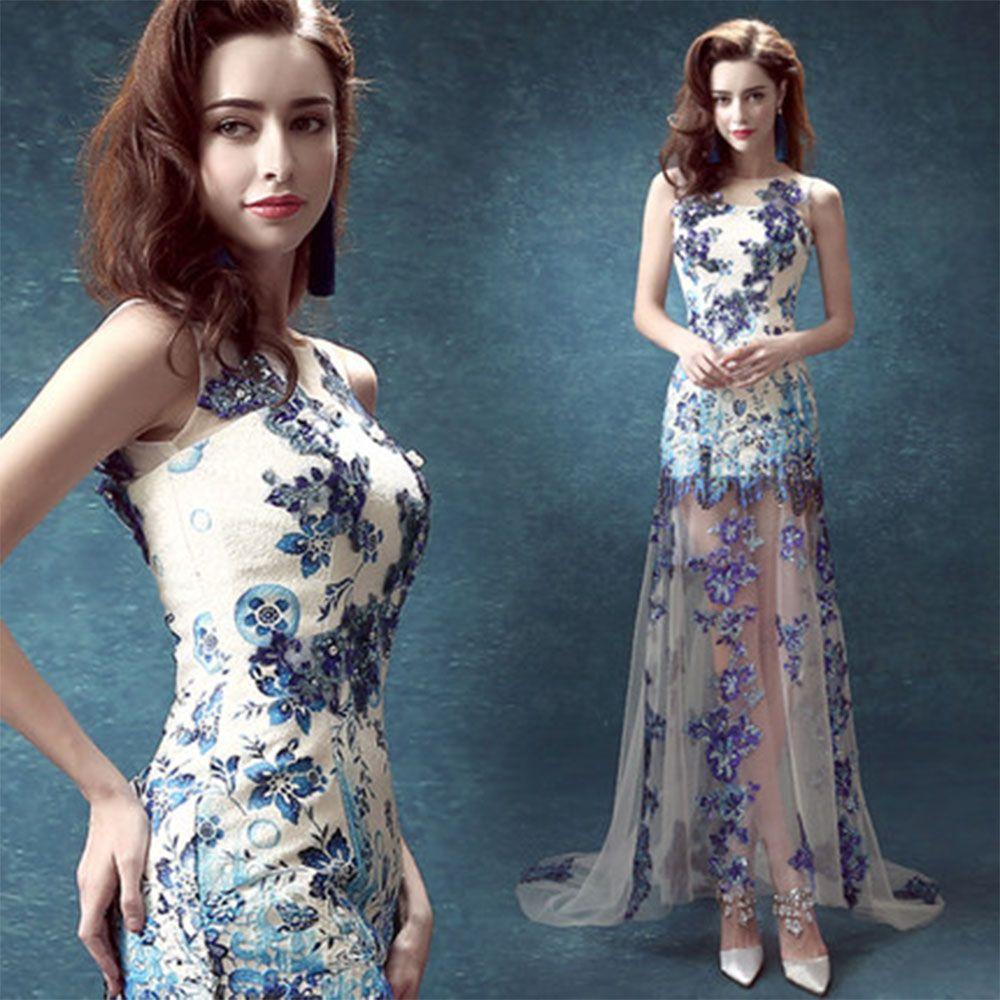 Wedding dresses The blue and white porcelain blue backless bride ...