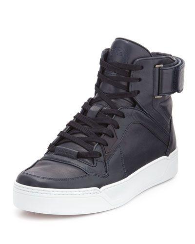 75cf048e33e N37VU Gucci Nylon Guccissima Leather High-Top Sneaker