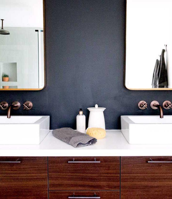 Modern moody bathroom walls are sherwin williams black