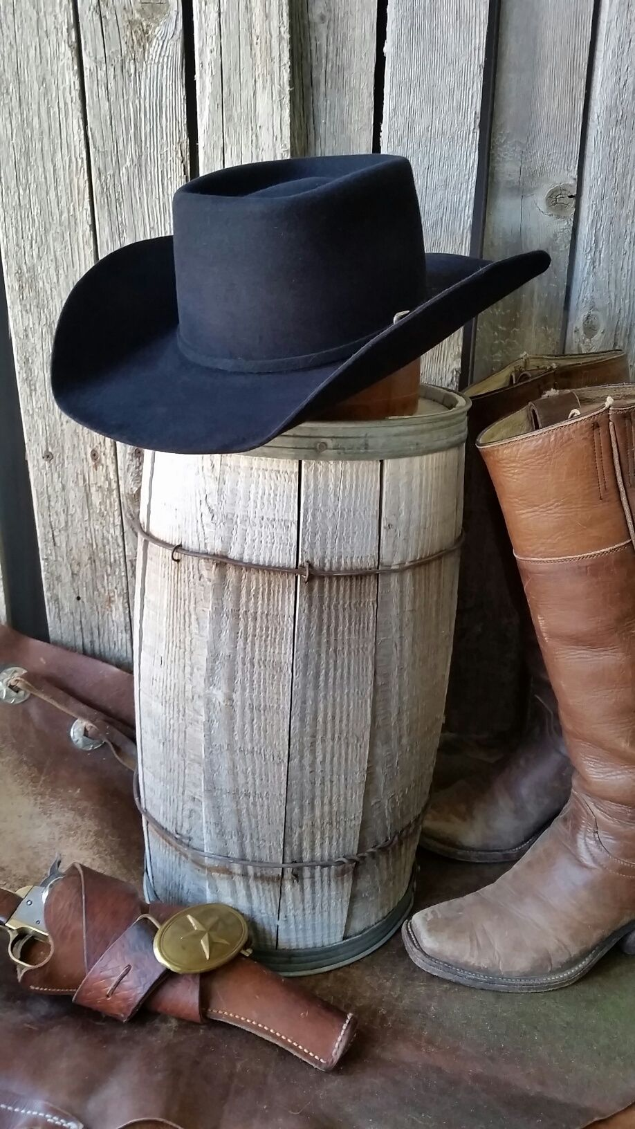 Brick Cowboy hat style or Canadian crease cowboy hat. Antique ... 32db54f01c7