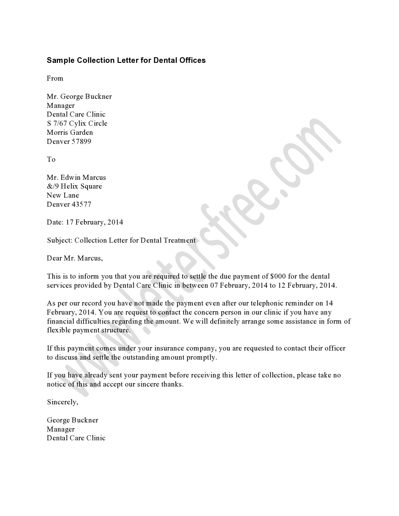 collection letter financial assistance a student office to get letters