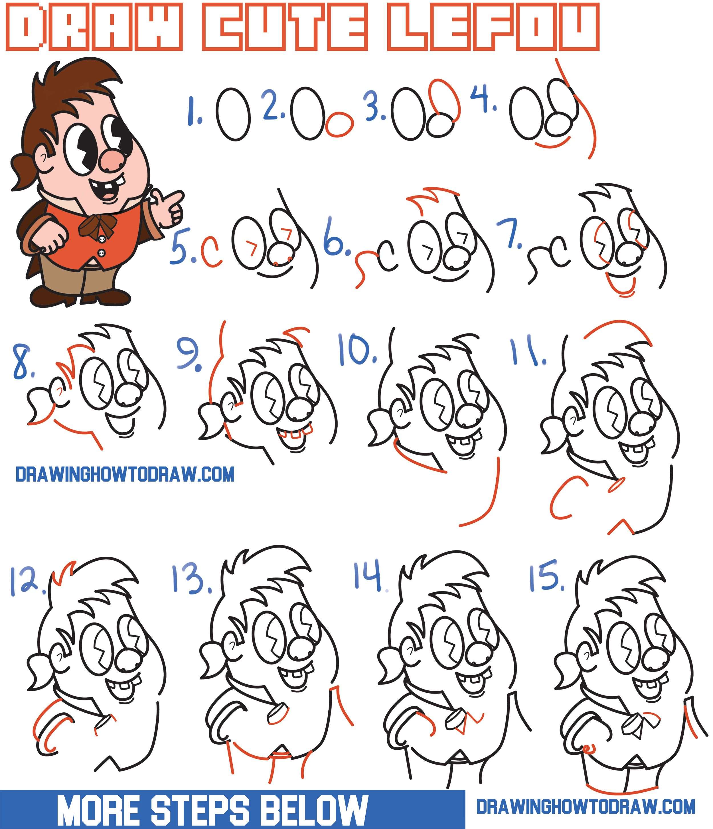 How To Draw Cute Kawaii Chibi LeFou From Beauty And The Beast Easy Step By