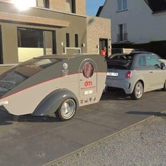 Fiat 500 with matching Teardrop camper