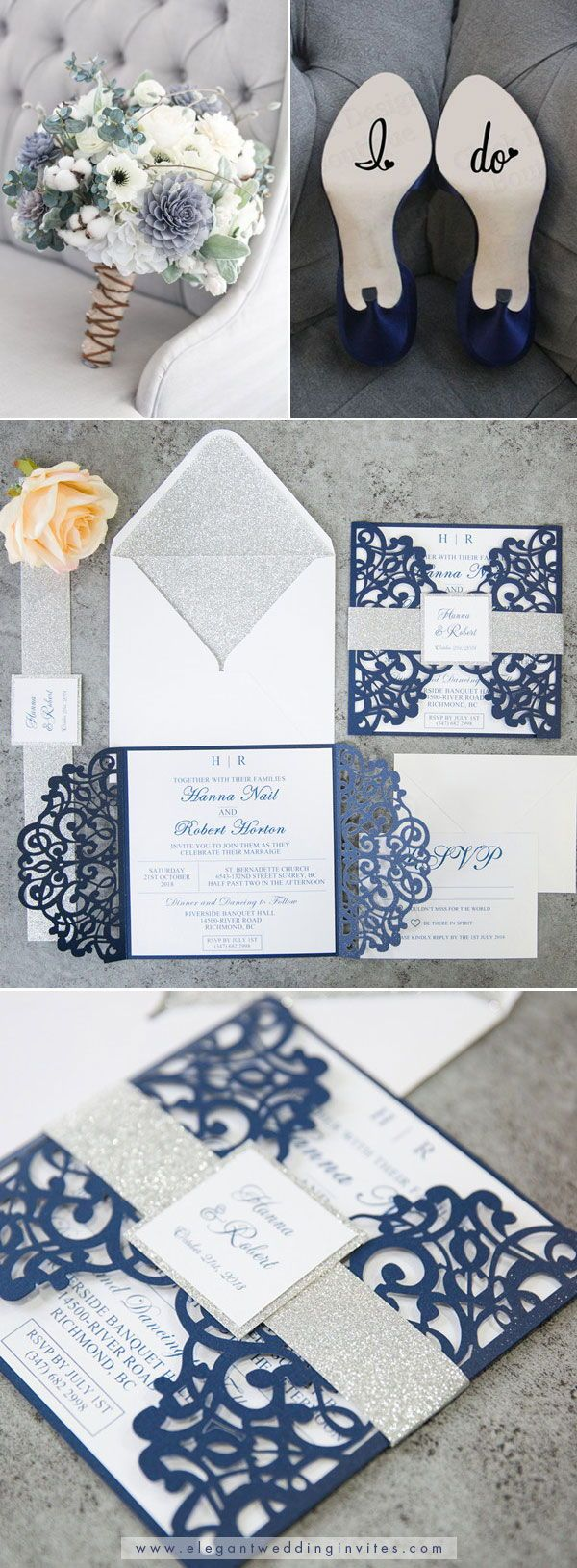 Fabulous Navy Blue Laser Cut Wedding Invitations With Glitter Belly