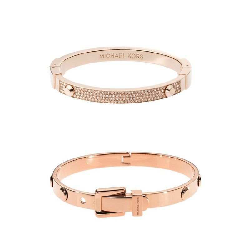 7f4dcad4cdcd Michael Kors Astor Buckle Bangle   Pav  Astor Crystal Studded Bracelet Rose  Gold tone gift set.