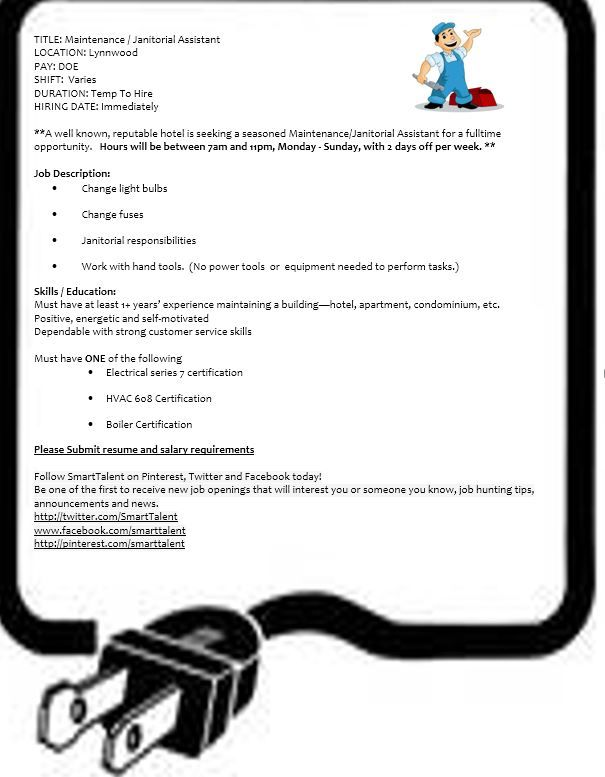 Hotel Maintenance ~ Full Time Great Benefits Lynnwood@SmartTalent - maintenance job description