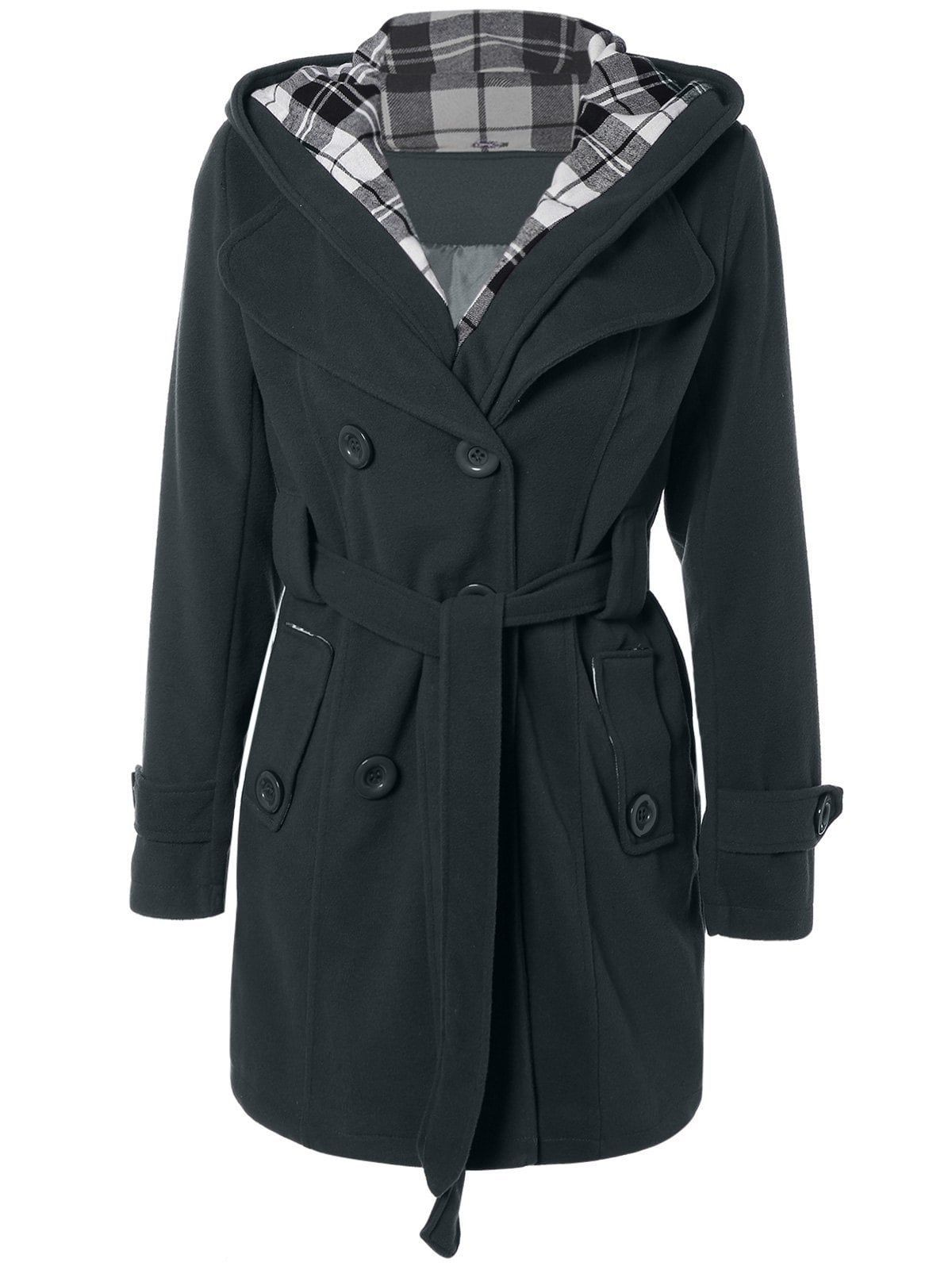 Grey Dress 2xl Wool Coat Black Hooded Blend Belted BxU0wqqX