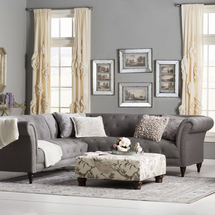 sally 102'' tufted sectional sofa  french country living