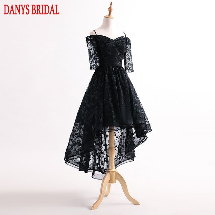 Free Shipping] Buy Best Black High Low Prom Dresses with Sleeves ...