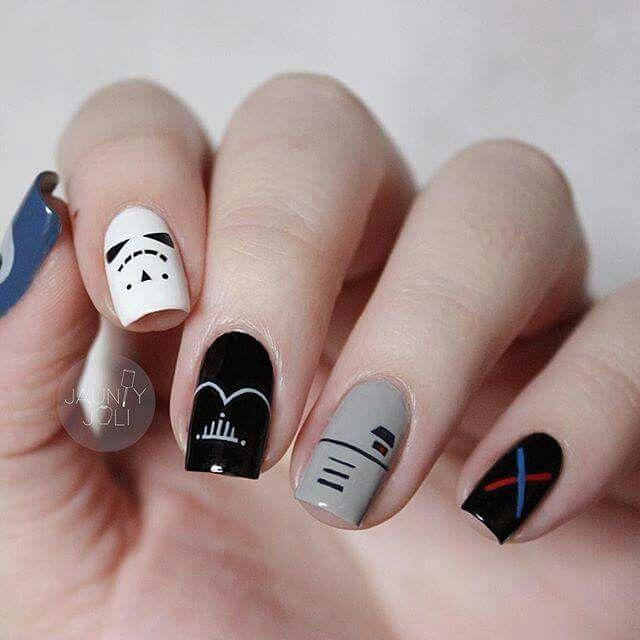 So Simple And So Cute Simple Star Wars Nail Art Star Wars Nails Disney Inspired Nails Marvel Nails