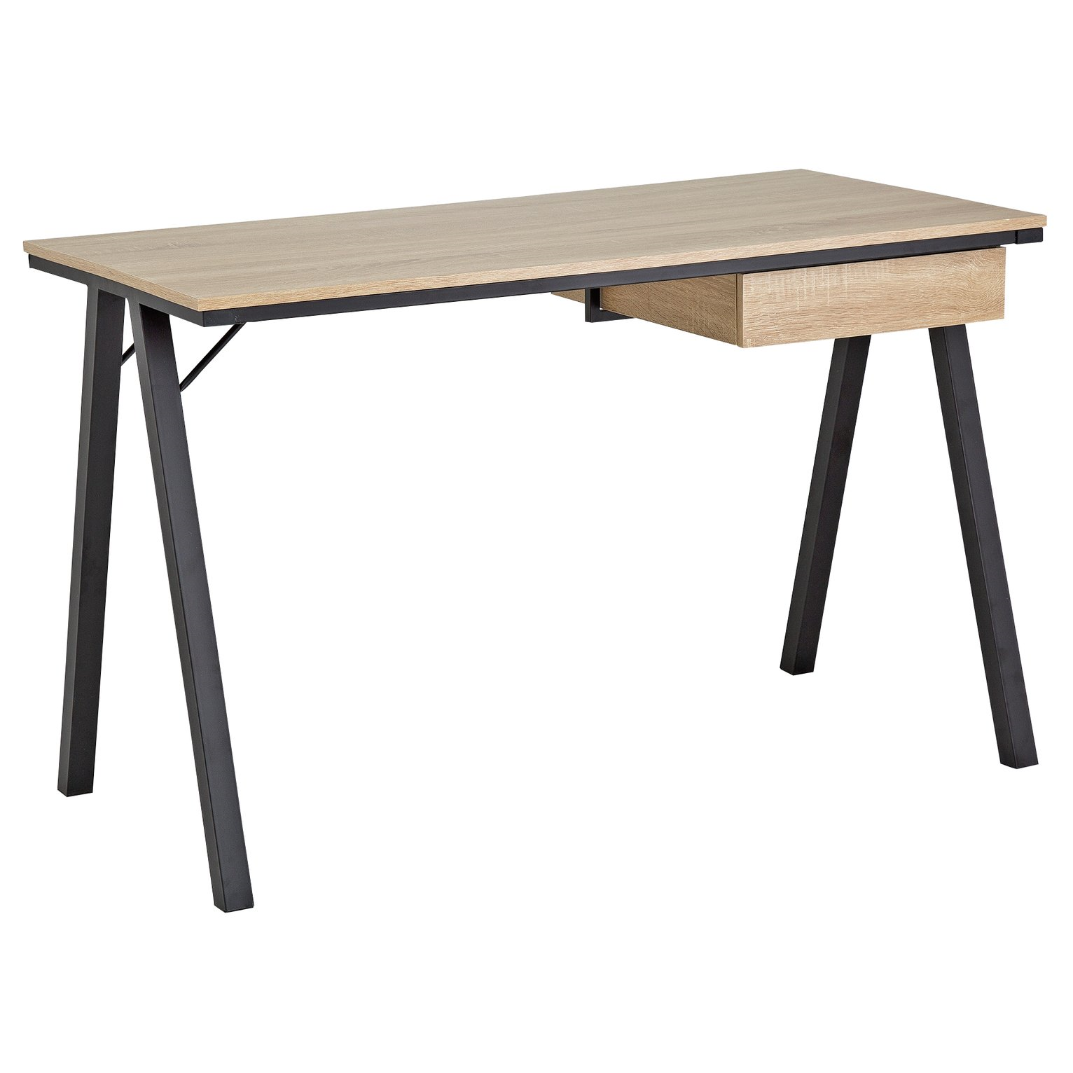 HOME Industrial Style Desk with Drawer - Oak Effect (33 x 33cm