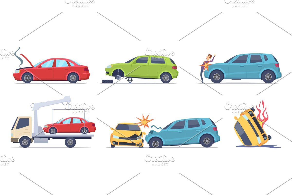 Transport Accident In Urban Cartoon Styles Transportation Accident