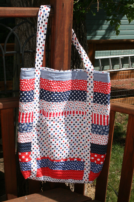 tote bag quilted bag patriotic jelly roll bag book bag modern