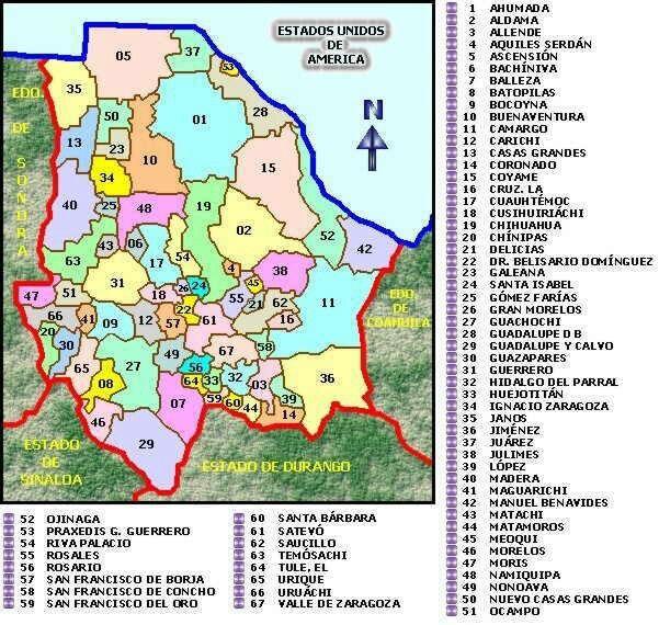 Chuihuahua Tiene 67 Municipios Mapa De Mexico Chihuahua Mapa Chihuahua