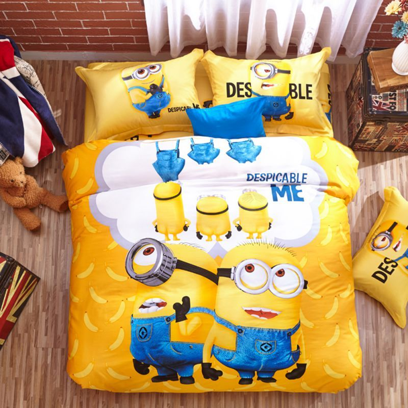 Minion Bed Set Queen King Twin Size Available The Colors Are Really Sharp Clear Bedding Is Made Of Lovely Soft 100 Cotton Free Shipping Worldwide