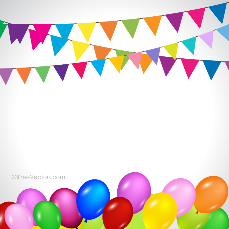 Colorful Happy Birthday Balloons Vector Background Image | Free ...