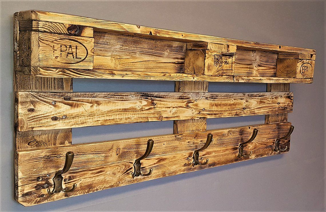Wardrobe Wood From Pallet With Suspension Incl 5 Coat Hooks Pallet Wardrobe Wall Shelf Shelf Shelf Vintage Shelf With Hook Pallet Furniture Garderobe Holz Paletten Garderobe Möbel Aus Paletten