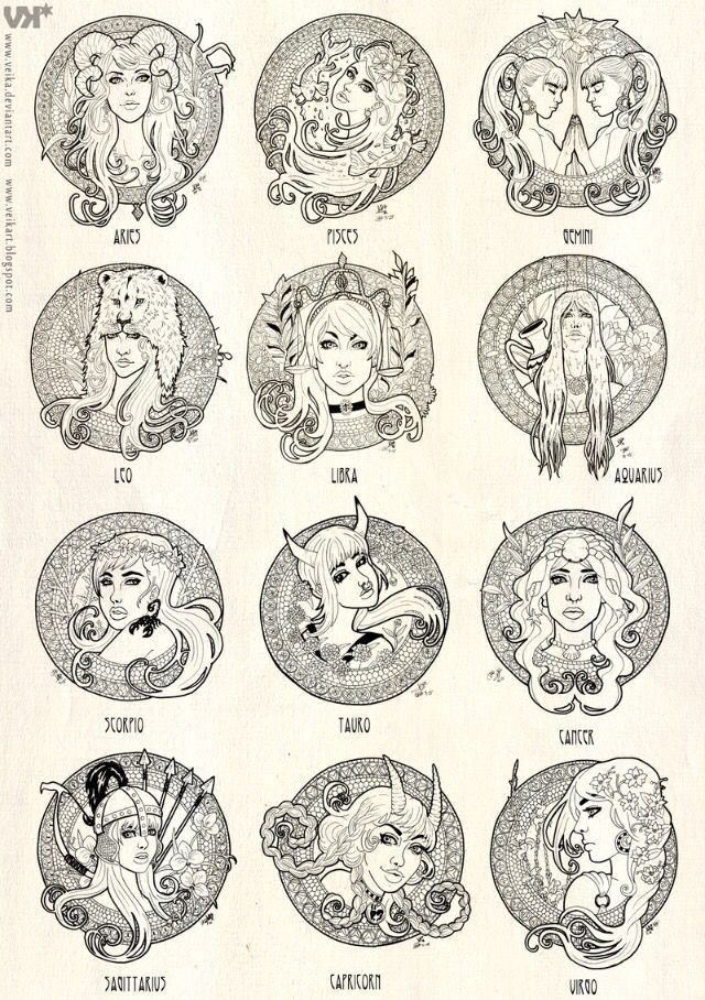 Zodiac Signs In Female Human Form With Images Zodiac Art
