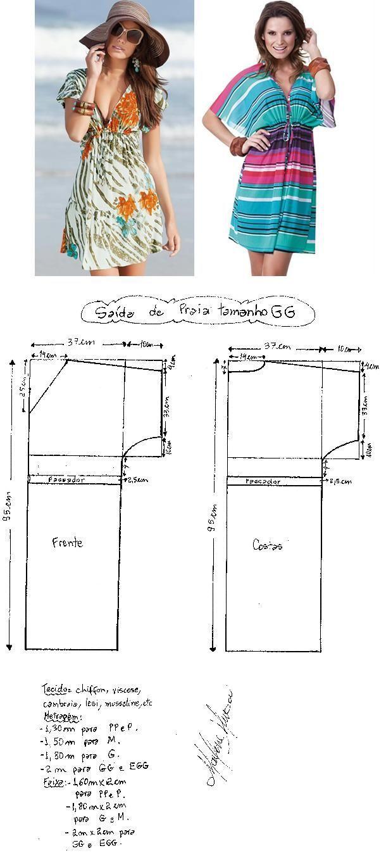 Saída de Praia. Uma saída de praia clássica, prática e elegante. Segue esquema de modelagem do PP ao EGG. Publicado em 19/09/2014 por marleneglaumar2002 em modelagem.