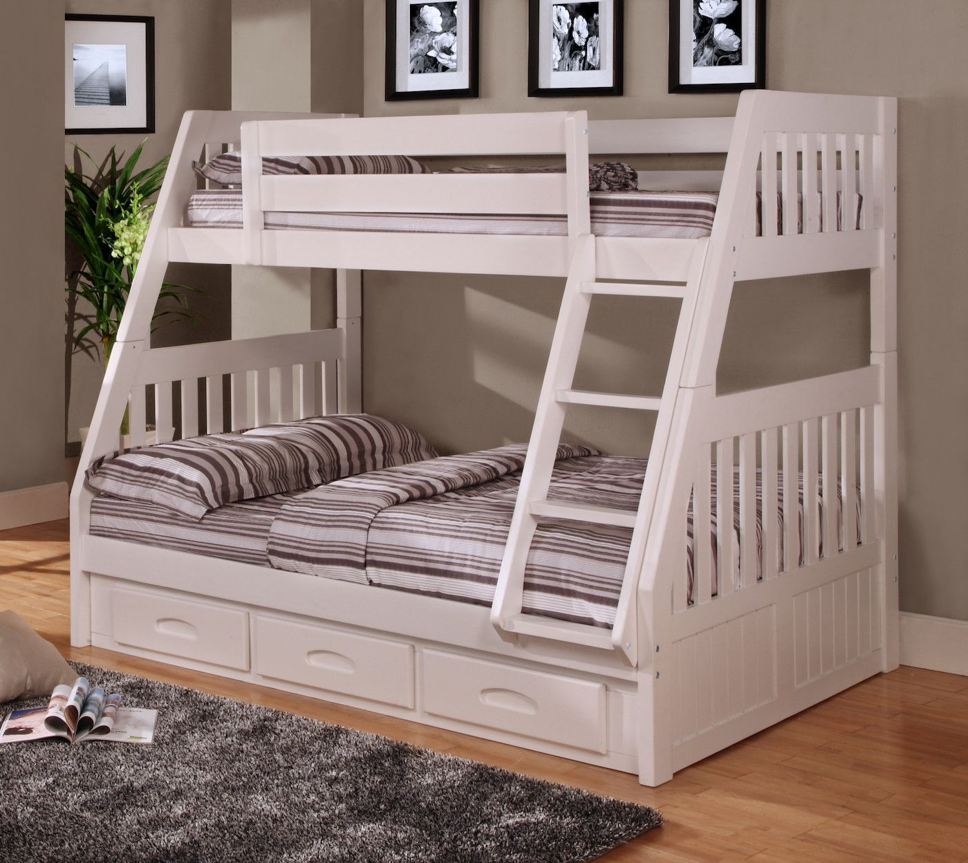 Loft bed with desk full size mattress  Julia White Twin over Full Bunk Bed  Underbed storage drawers Twin