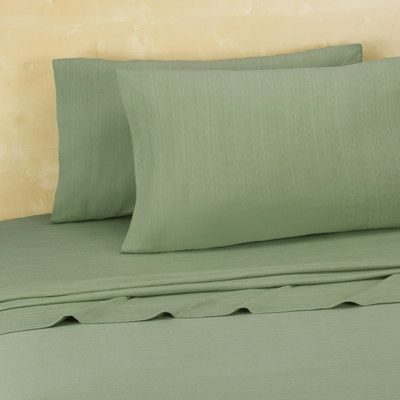 Royale Linens Brooklyn Flat Extra Soft Jersey Sheet Set Size: Twin/Twin XL, Color: Green Eyes