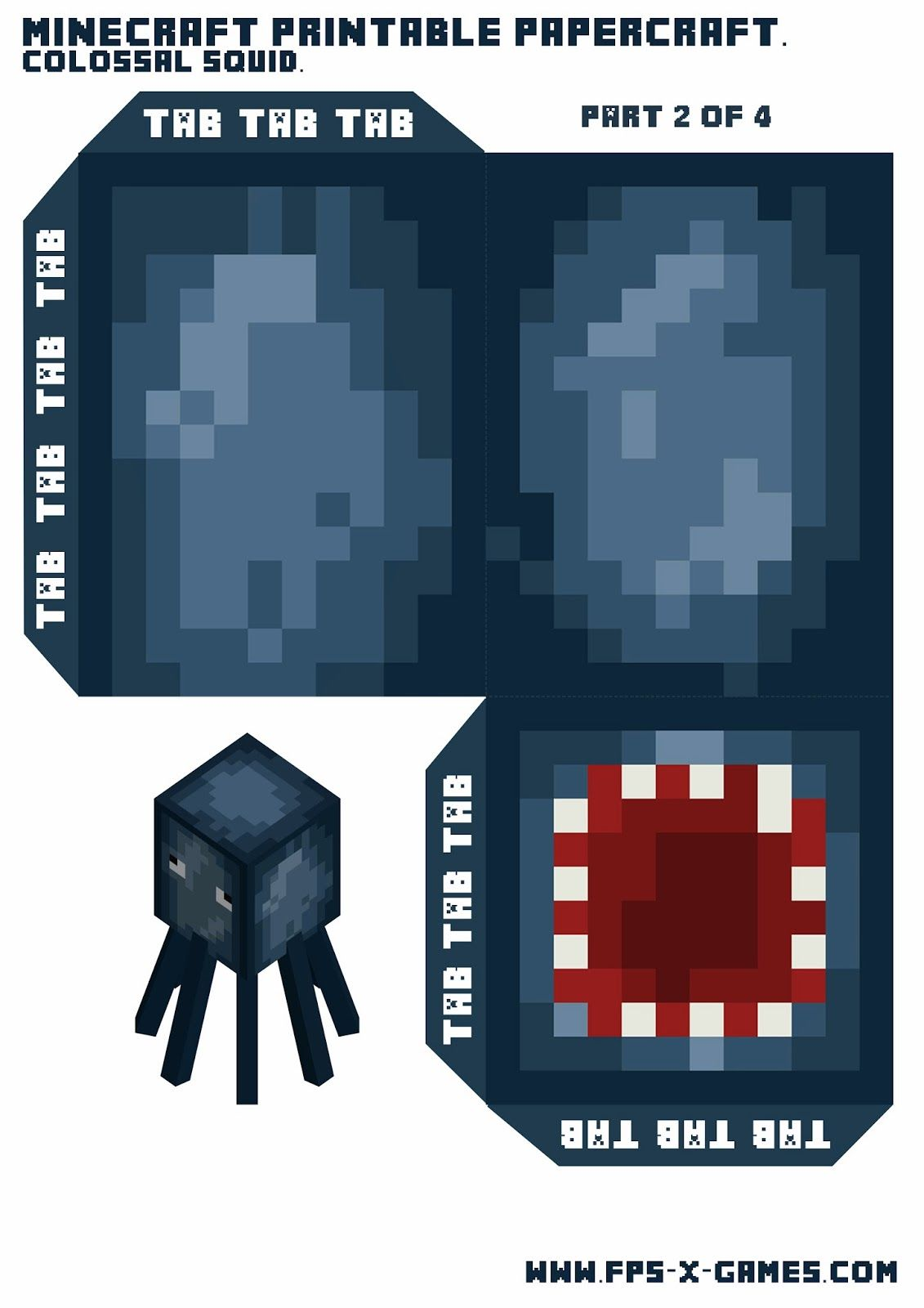 Large Printable Minecraft Squid Aniversario Minecraft Tema