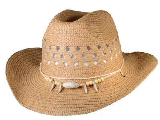 CTM Girls Straw Braided Trim Cowgirl Western Hat
