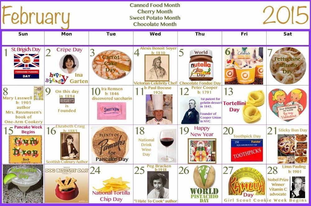February 2015 Food Celebrations Clickable Calendar