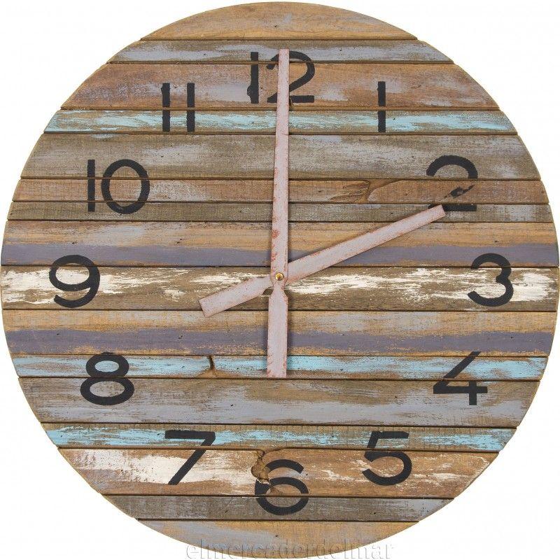 Reloj de pared marinero de madera envejecido reloj - Reloj pared madera ...