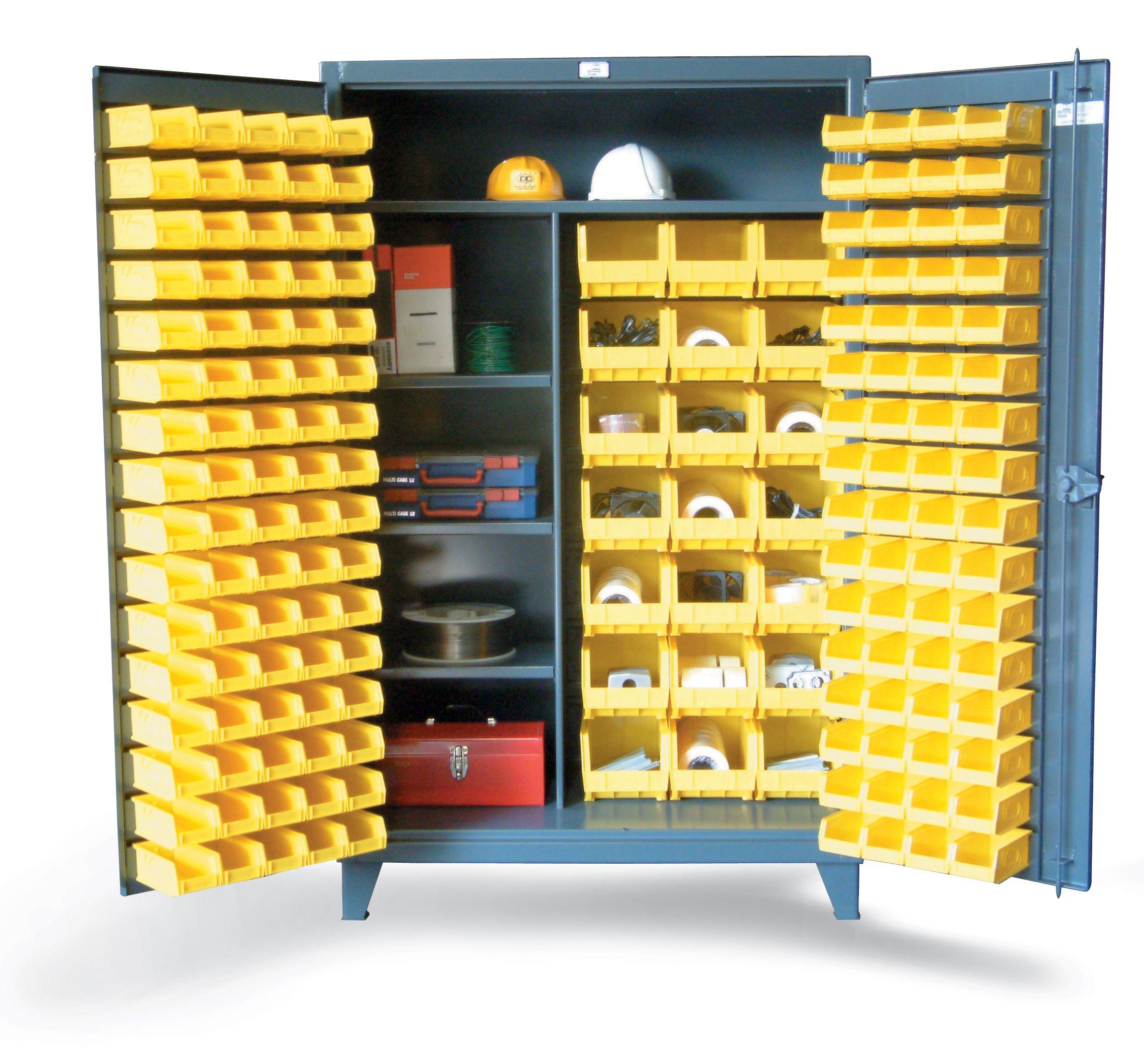 Bin Storage Cabinet with Wardrobe Style Shelves - Bin ...