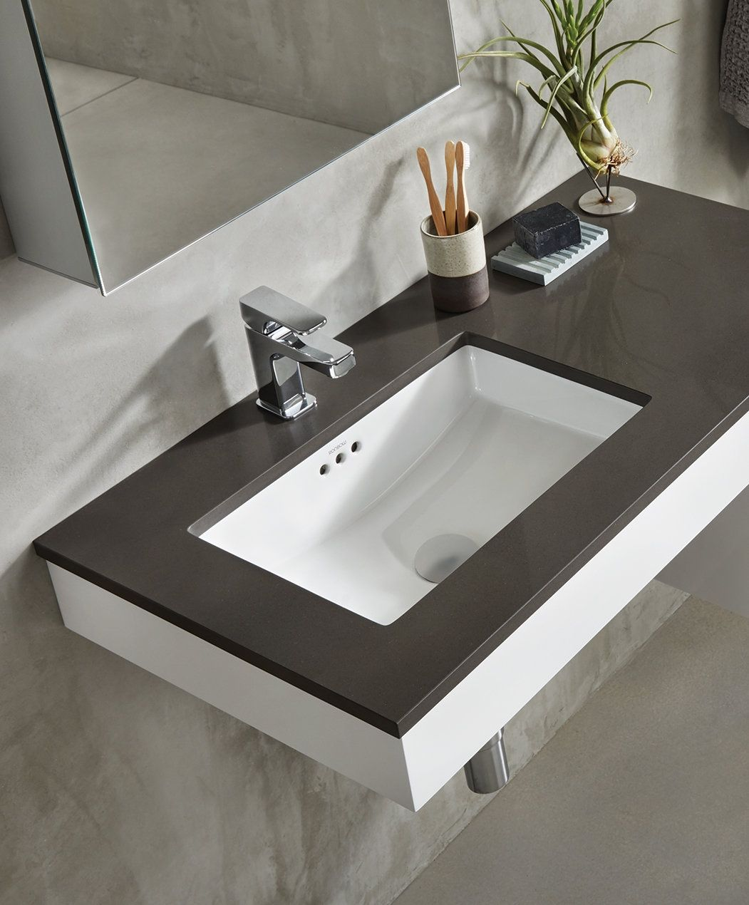 Ronbow Essence Ceramic Rectangular Undermount Bathroom Sink With