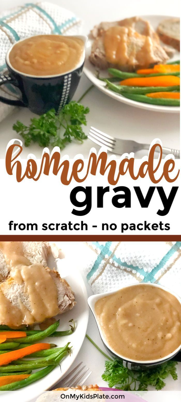 Simple Homemade Pork Roast Gravy From Pan Drippings #turkeygravyfromdrippingseasy Make the best homemade pork gravy from scratch, no packet! This easy recipe is perfect for the holidays to make from drippings. Mix together ingredients already in your pantry to make a creamy gravy perfect for Thanksgiving. Great for a roast, or pork in the crockpot. #turkeygravyfromdrippingseasy