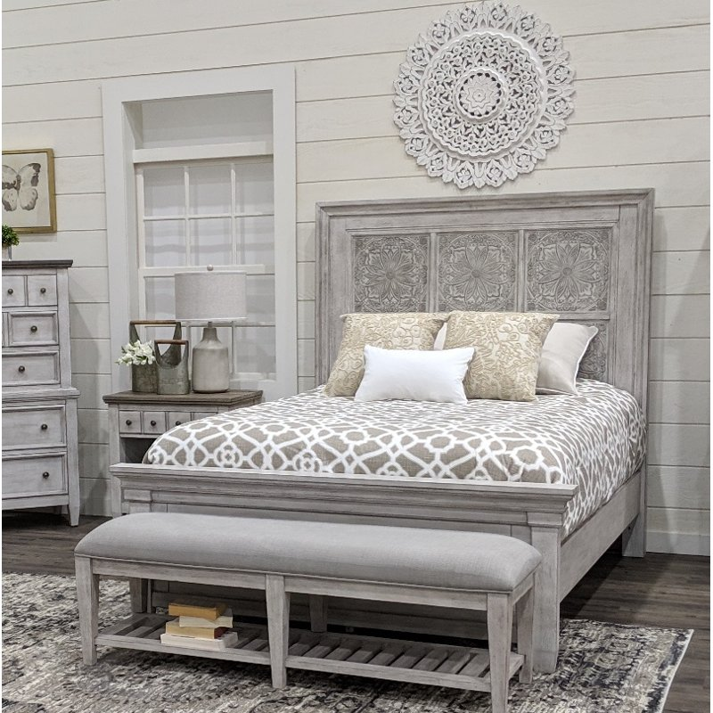 Best Classic Country Antique White Queen Bed Heartland 400 x 300