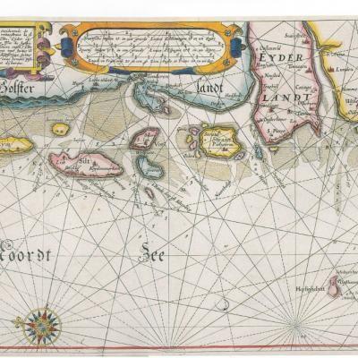 Vadehavet Oerne 1612 Danmark Gamle Kort Kort