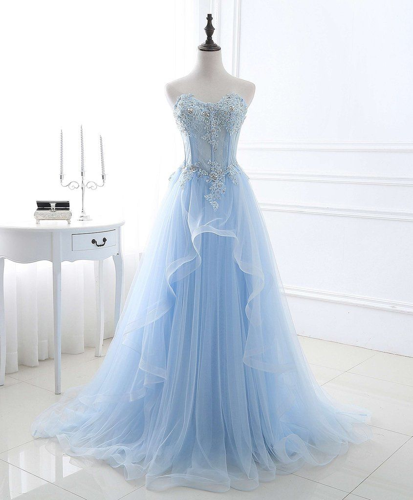 2018 spring ice blue ruffles tulle prom dress, Beaded prom dress for ...