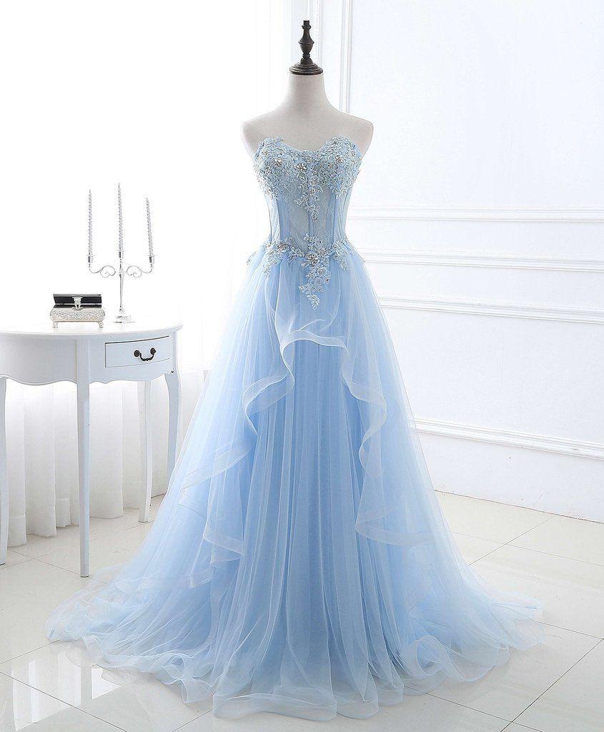 spring ice blue tulle strapless long ruffles beaded prom dress
