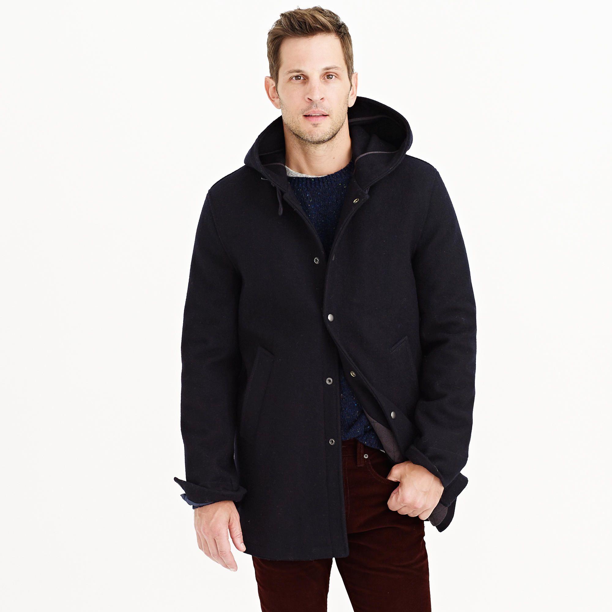J. Crew hooded coach's jacket in wool | Apparel | Pinterest